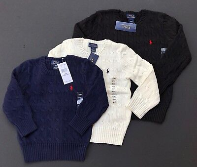 Ralph Lauren Polo Cable Knit Sweater Cotton Pullover Kids Sizes 2 3 4 6 7 NWT