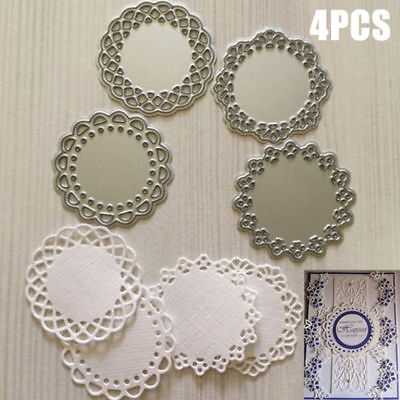 4pcs Lace Edge Circle Frame Metal Cutting Die Stencils Scrapbook Embossing Craft