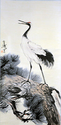 Vintage Chinese Watercolor Crane Wall Hanging Scroll Painting with Seal Mark