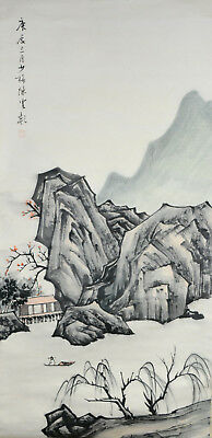 Vintage Chinese Watercolor MOUNTAIN Wall Hanging Scroll Painting - Chen Shaomei