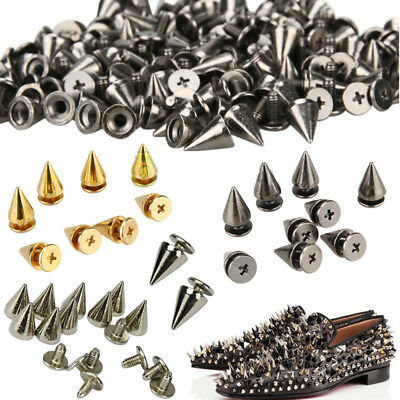 Cone Screw Back Metal Studs Punk Leathercraft DIY Rivet Bullet Spikes Spots 8CD