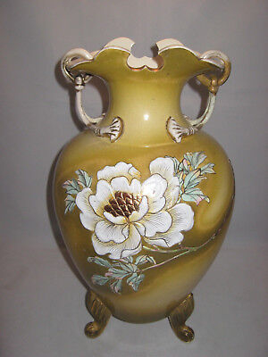 Antique Victorian Lg 16in Gold Floral 3-Footed Pottery Vase Ring Handles Gilded