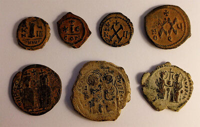 Quality lot of 7 Byzantine coins Antioch desert patina Justin Maurice Phocas
