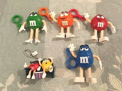 M & M's Lot of 4 Clip-On Characters and 1 Keychain - New