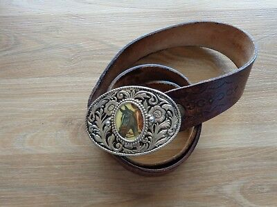 MERCEDES BENZ leather belt with horse belt buckle_used_xx79_X3a136
