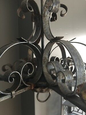 Antique Spanish Revival Wrought Iron Scroll Chandelier, Heavily Rusted Gothic
