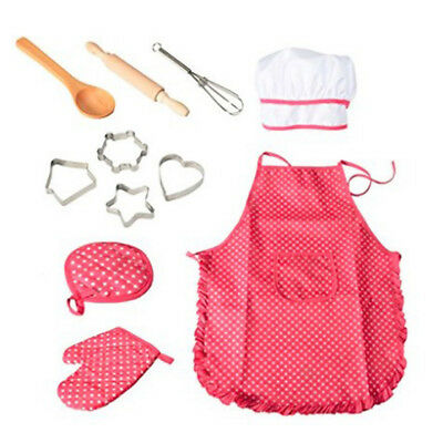 11 Pcs Chef Set for Kids Children Cooking Play with Apron Girls Hat Great Gift