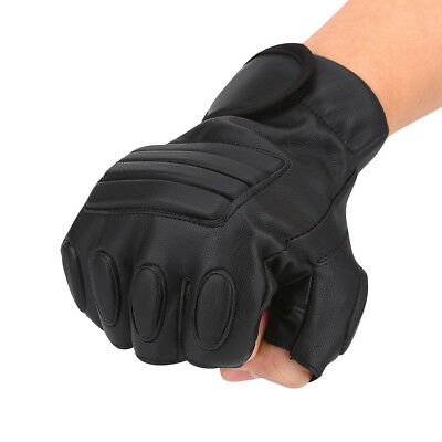 Mens Leather Driving Gloves Fitness Gloves Half Finger Tactic Gloves Black ST