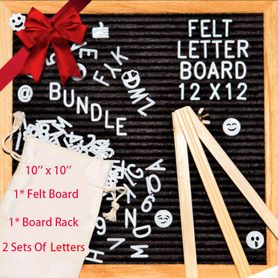 """10""""x10"""" Felt Letter Board 9 Colours Wooden Message Board, 2 Set Of Letter, Stand"""