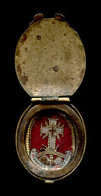 old relic theca  TRUE CROSS of JESUS CHRIST B.HENRICI S.M.MAGDALENAE PAZZI 19th.