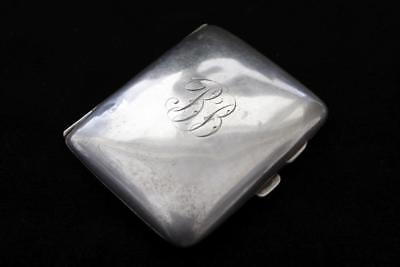 ANTIQUE 1921 ENGLISH BIRMINGHAM STERLING SILVER ENGRAVED CIGARETTE CASE 66.5g