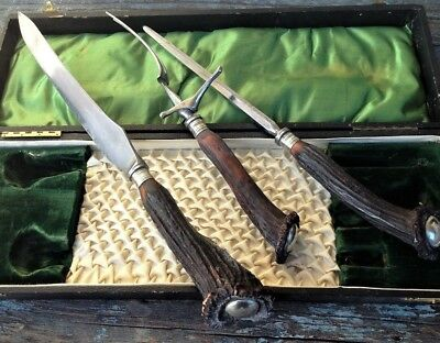 ANTIQUE ENGLAND 3-PC CHARLES BARBER &Co CARVING CUTLERY SET, STAG HORN & CASE UK