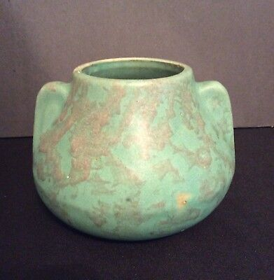 VINTAGE 1920's-30's BRUSH McCOY ART POTTERY MOTTLED GREEN VASE #716 HANDMADE USA