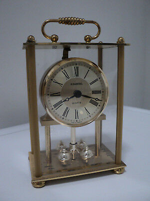 """Small Brass Carriage H.Samuel Quartz Clock, Made in Germany, 6"""" Hgh, Working."""