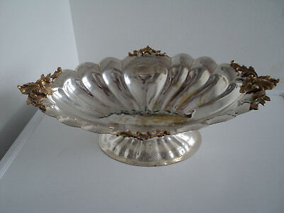 Large vintage silver plate? Shell Dish Bowl, Brass ends/sides, 465 x 280 x 135mm
