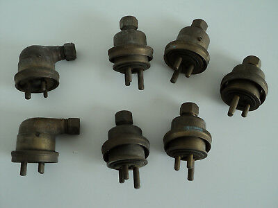 7 x Vintage Walsall Brass Plugs - 3 pin, Ships? Steam? Industrial?