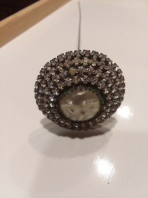 """Antique Victorian Rhinestone Long Hat Pin with Mother of Pearl center Stone 11"""""""