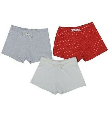 Ex Store Girls 1 Pack Red Cream Grey Summer Beach Shorts Age 3 4 5 6 7 Years