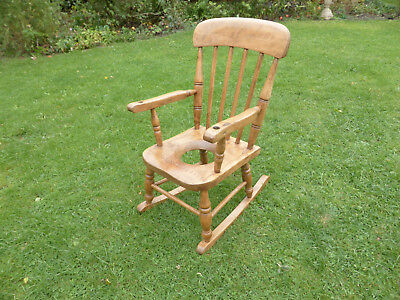 Victorian Childs Rocking Chair Elm, Beech + Ash with Potty Hole!