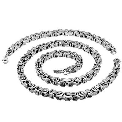5MMX90CM King's Chain+Bracelet Set Men's Necklace Chain Stainless Steel Silver