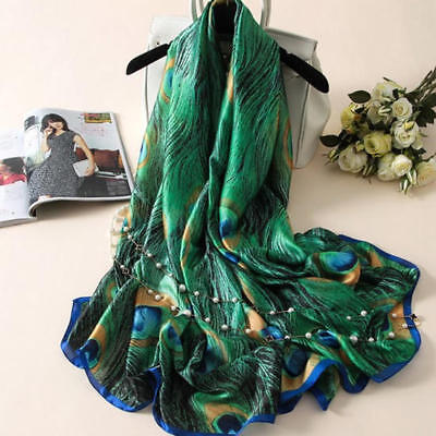 AU Women's Lady Soft Mulberry Silk Peacock Long Scarf Beach Towel Wrap Shawl