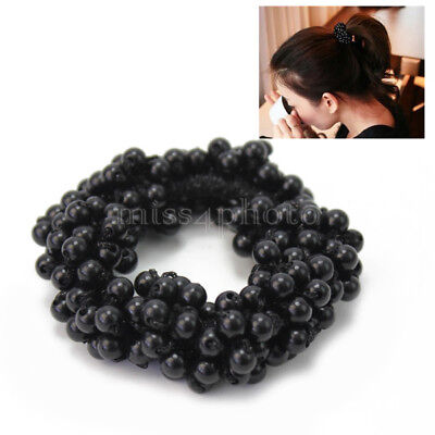 Hot Women Girl Lady Black Beads Stretchy Hair Rope Scrunchie Ponytail Holder
