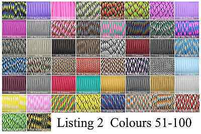 Paracord 550 100' 100 Foot CHOOSE FROM 300 COLOURS! GENUINE 7 STRAND PARACORD! 2