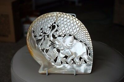 Mother Of Pearl Shell Carving Elephant