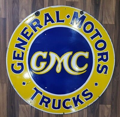 GMC GENERAL MOTORS TRUCKS 2 SIDED VINTAGE Porcelain Sign 24 INCHES ROUND