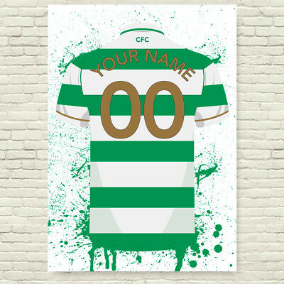 Personalised Celtic Home Shirt Football Poster
