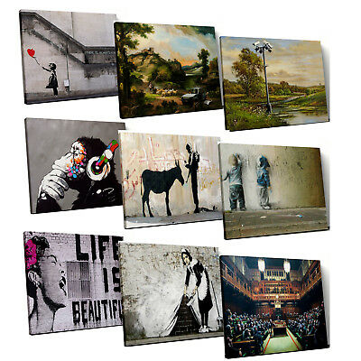 Banksy inspirational iconic street graffit art Framed Canvas Print Wall Art