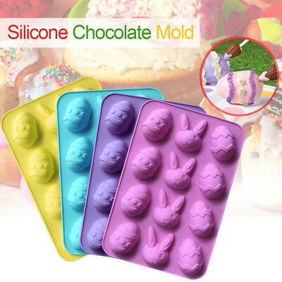 12Pcs Easter Egg Bunny Chocolate Silicone Mold DIY Baking Biscuit Fondant Mould