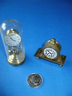 Vintage Solid Brass Miniature Dolls House Clocks - Collectors Items