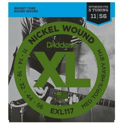 D'Addario EXL117 Med Top-Extra-Heavy Bottom Electric Guitar Strings  11-56