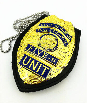 New US Hawaii Five-0 Badge Hawaii 5 o Badge & Chain Belt Leather Badge Holder