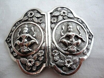 Beautiful Indian Solid Silver Belt Buckle, Decorated With Hindu Deities