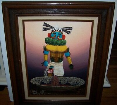 Navajo Indian Artist Jackie Black Original Oil Painting Signed '78 Kachina Corn