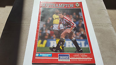 FOOTBALL PROGRAMME SOUTHAMPTON v OXFORD  F.A.CUP. 4th ROUND
