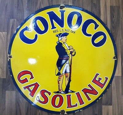 CONOCO GASOLINE VINTAGE Porcelain Sign 30 INCHES ROUND