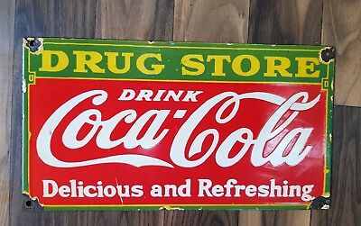 COCA COLA DRUG STORE  Porcelain Sign 11 X 6 INCHES