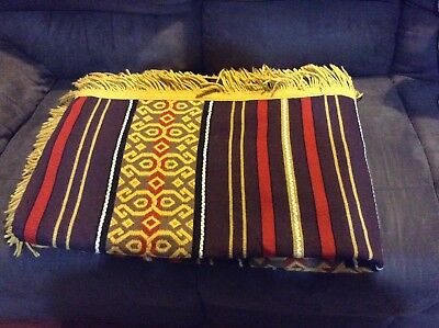 Vintage Retro Blanket Throw Rug Aztec Yellow Brown Red Double Bed Lamp Shade