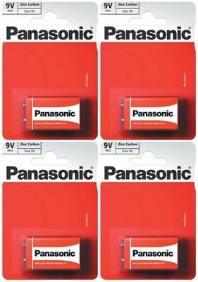 4 x PANASONIC 9V BATTERY MN1604 Square Block Smoke Alarm Zinc Carbon Batteries