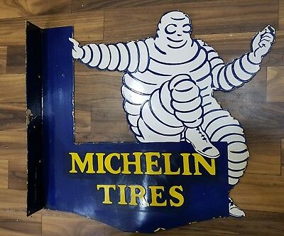 MICHELIN TIRES 2 SIDED  Porcelain Sign 20 X 18 INCHES WITH FLANGE