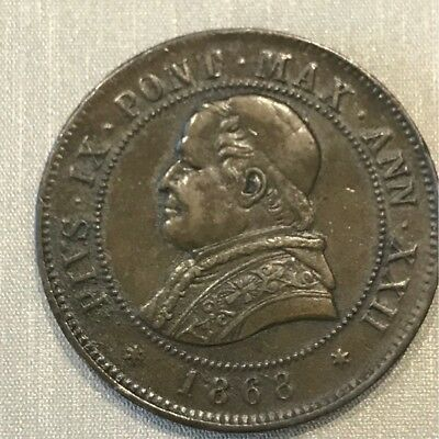 Vatican State 1868-Roma Mint Pope Pius Ix  4 Soldi Choice Brown Au/Unc 20 Cents