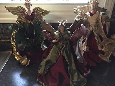 Lot Three Beautiful Large Christmas Angels--Tree Toppers or tabletop Decoration