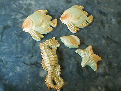 Vintage Wall Pocket Ceramic Fish with Seahorse,shell and starfish miller studio