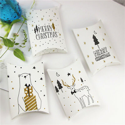 5-50pcs Christmas Party Paper Favour Boxes Candy Sweets Cookies Gift Snacks Bag