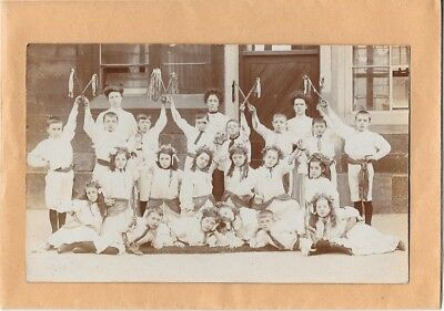 Early Real Photo Postcard Group Of Young Morris Dancers Possibly Blackburn Area