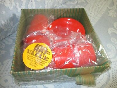Vintage Texas Ware Plastics Mfg. Co. Dallas Red White Ticking Dishes Set for 4