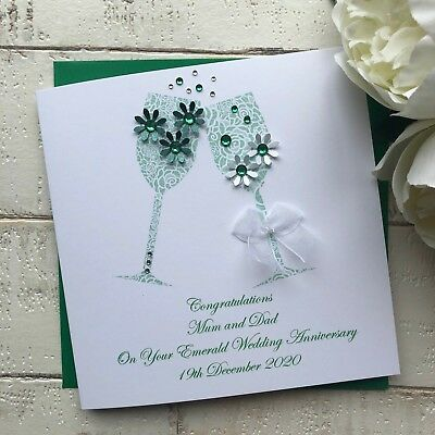 Handmade Personalised 55th Emerald Wedding Anniversary Card Mum Dad Nan Grandad